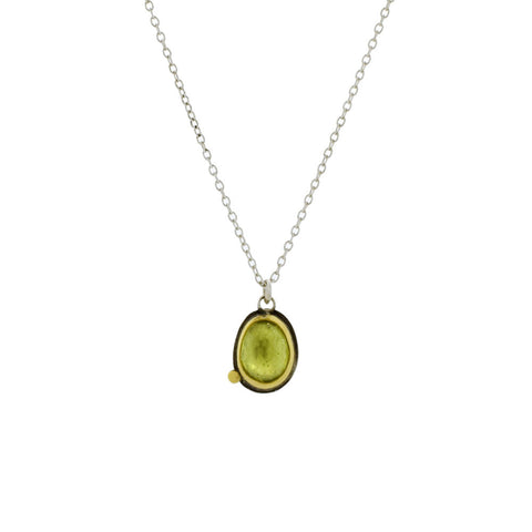 Peridot Necklace with 22K Gold and Sterling Silver