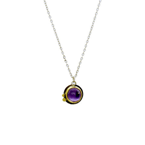 Amethyst Necklace with 22K Gold and Sterling Silver