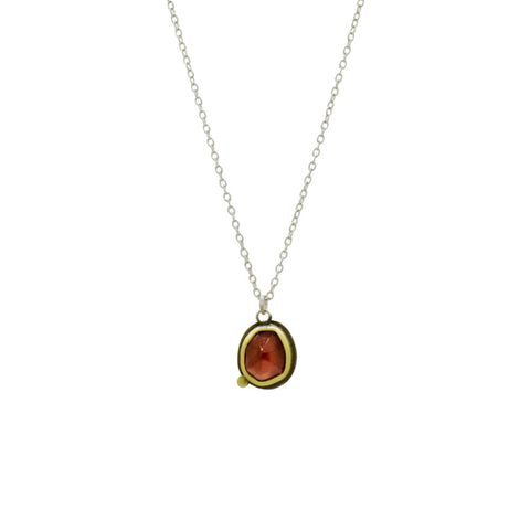 Garnet Necklace with 22K Gold and Sterling Silver