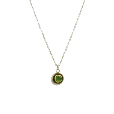Emerald Necklace with 22K Gold and Sterling Silver