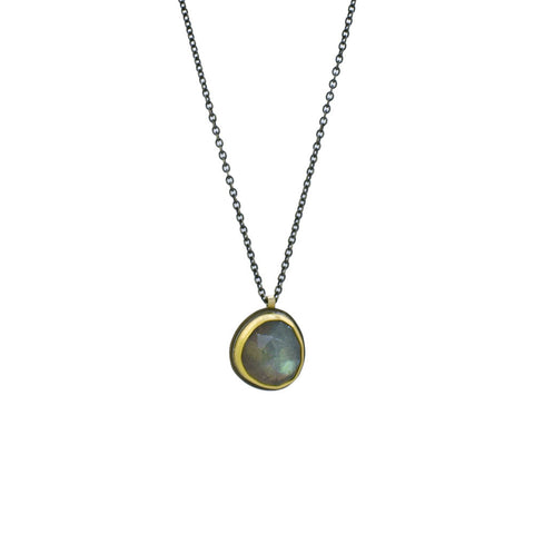 Labradorite Necklace with 22K Gold