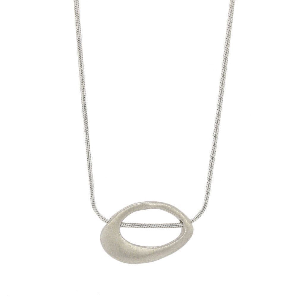 Sterling Silver Angled Oval Necklace