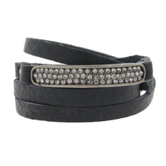 Black Leather Swarovski Crystal Wrap Bracelet
