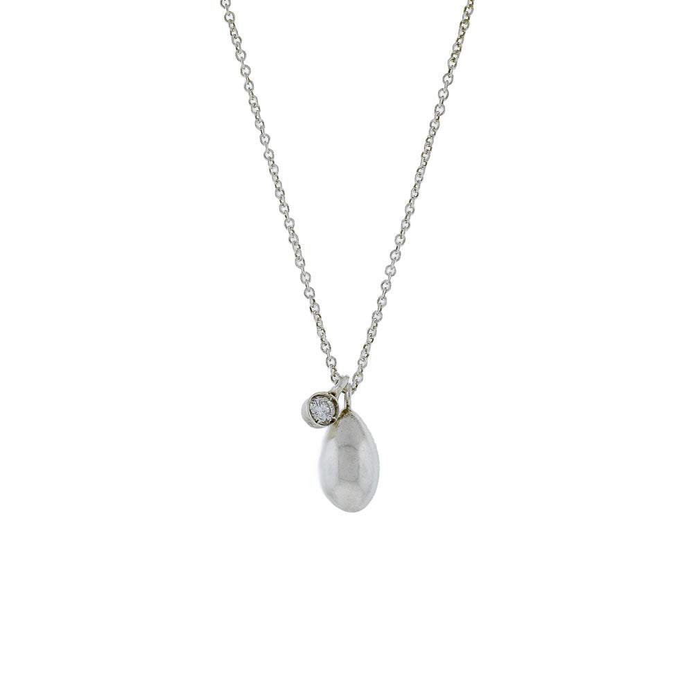 Sterling Silver Egg and Diamond Necklace
