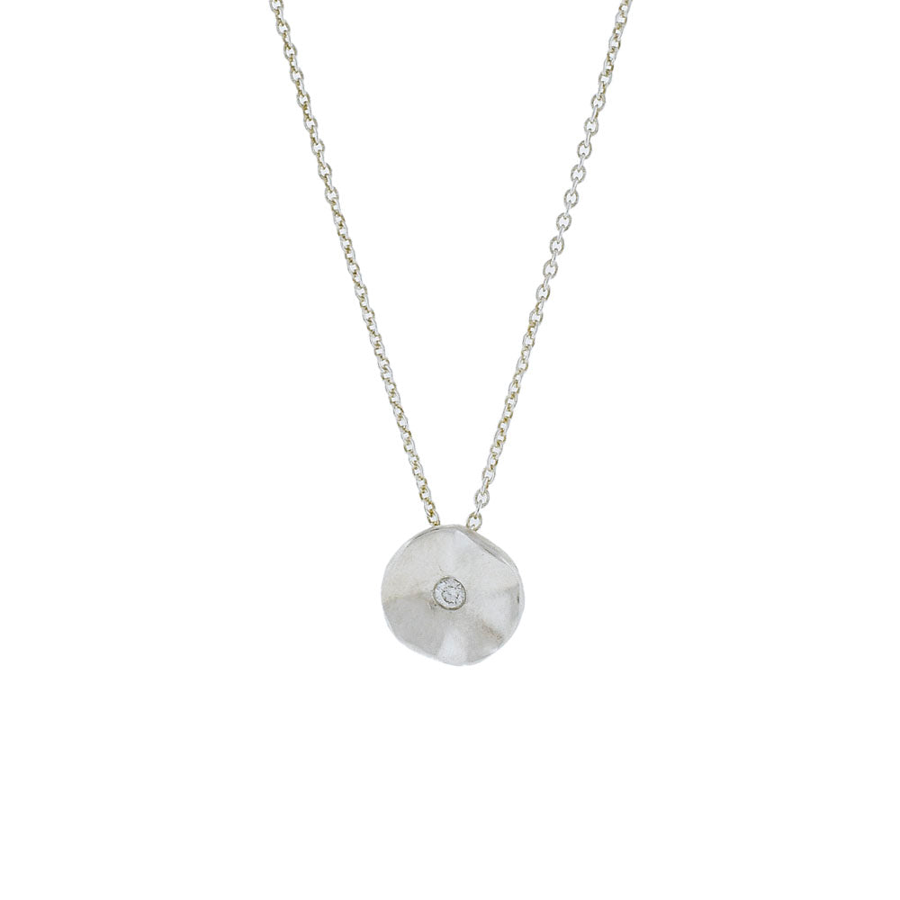 Sterling Silver Seed Necklace with Diamond