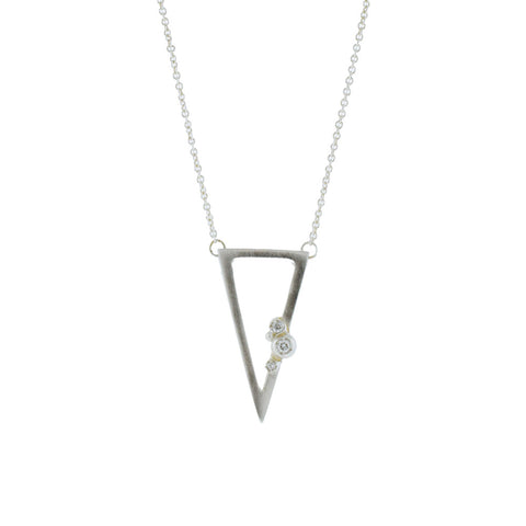 Sterling Silver Triangle Necklace with Diamonds