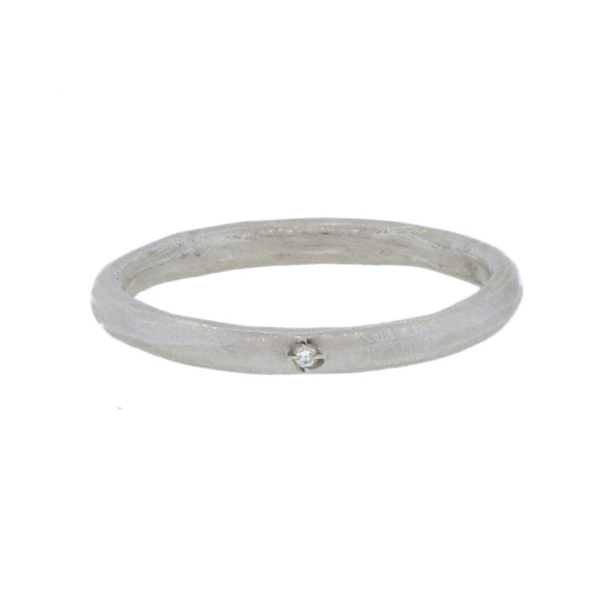 Simple Silver Band with Diamond