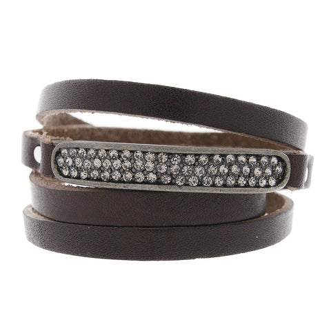 Brown Leather Swarovski Crystal Wrap Bracelet