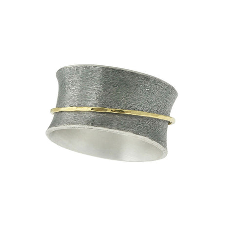 Brushed Matte Silver and Gold Spinner Ring