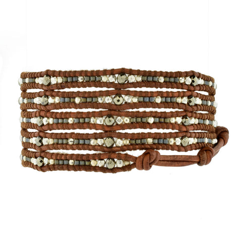 Chan Luu Wrap Bracelet with Mixed Pyrite and Silver