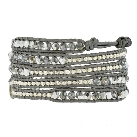 Chan Luu Wrap Bracelet with Grey Leather and Crystals