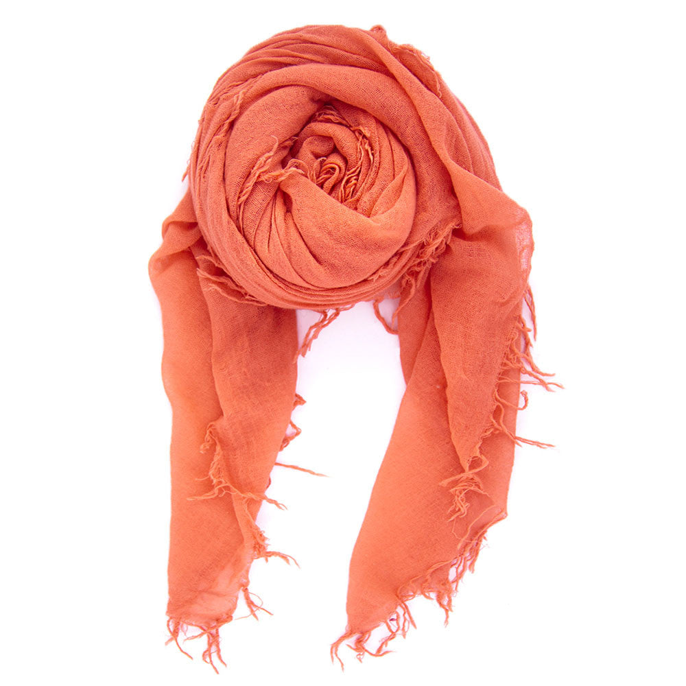 Living Coral Silk & Cashmere Scarf