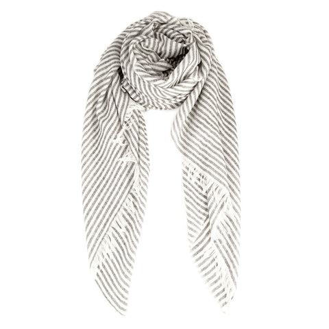 White & Black Silk & Cashmere Scarf