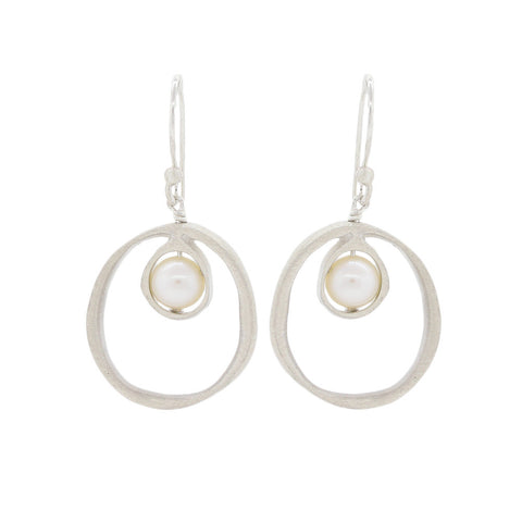 Circle Pearl Drop Earrings with Brushed Sterling Silver