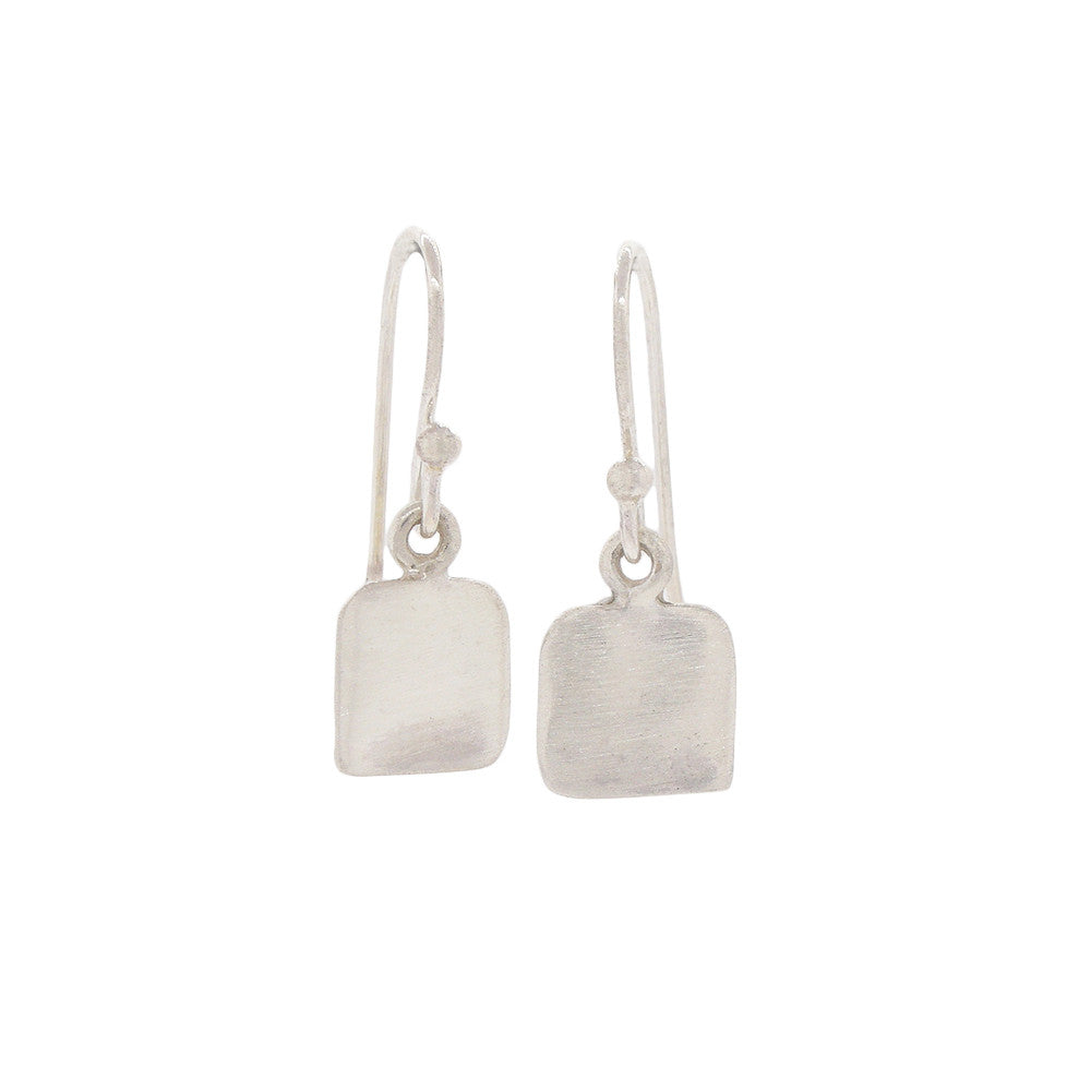 Classic Brushed Sterling Silver Square Earrings