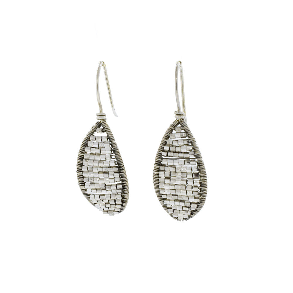 Sterling Silver and Crystal Leaf Earrings