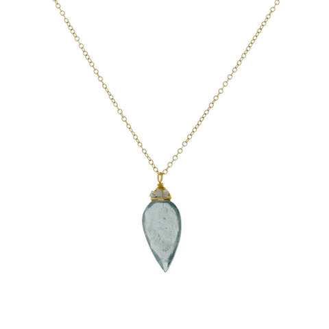 Moss Aquamarine and Diamond Necklace with 14 Karat Gold