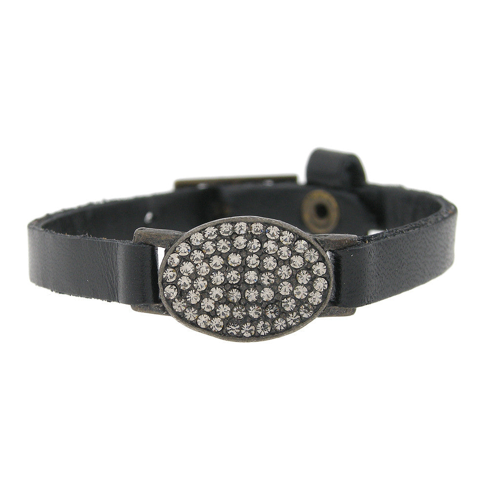 Delicate Oval with Swarovski Crystal Black Leather Bracelet
