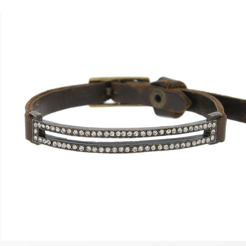 Double Strand Swarovski Crystal Brown Leather Bracelet with Adjustable Buckle
