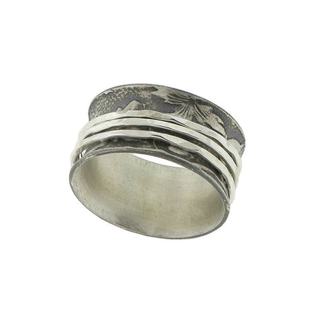 Three Band Silver Spinner Ring
