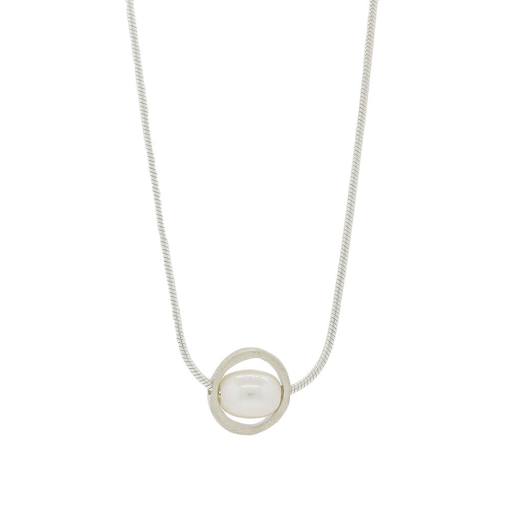 Floating Pearl on Brushed Silver Necklace