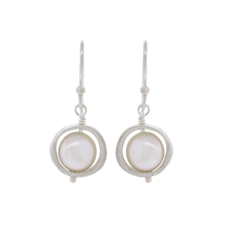 Floating Pearl Brushed Sterling Silver Earrings