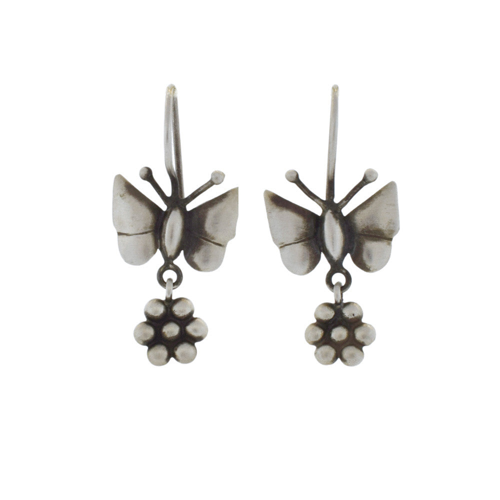 Silver Butterfly and Flower Earrings