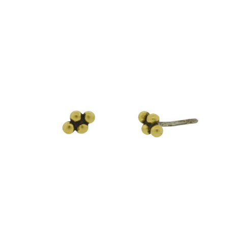 Golden Granulated Stud Earrings