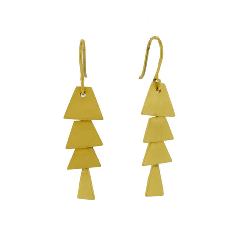 Pagoda Cascade Earrings in Gold Tone