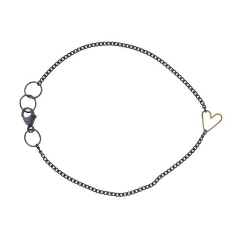 Teenie Heart Bracelet, Oxidized Sterling Silver and 14KY
