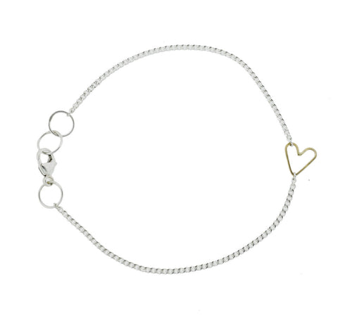 Teenie Heart Bracelet, Sterling Silver and 14KY