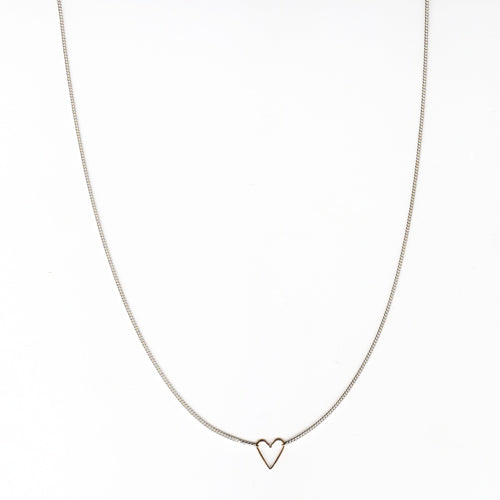 Teenie Heart Necklace in 14K and Silver