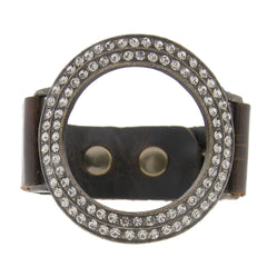 Open Circle Swarovski Crystal Brown Leather Snap Bracelet