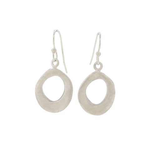 Organic Small Brushed Sterling Silver Circle Earrings