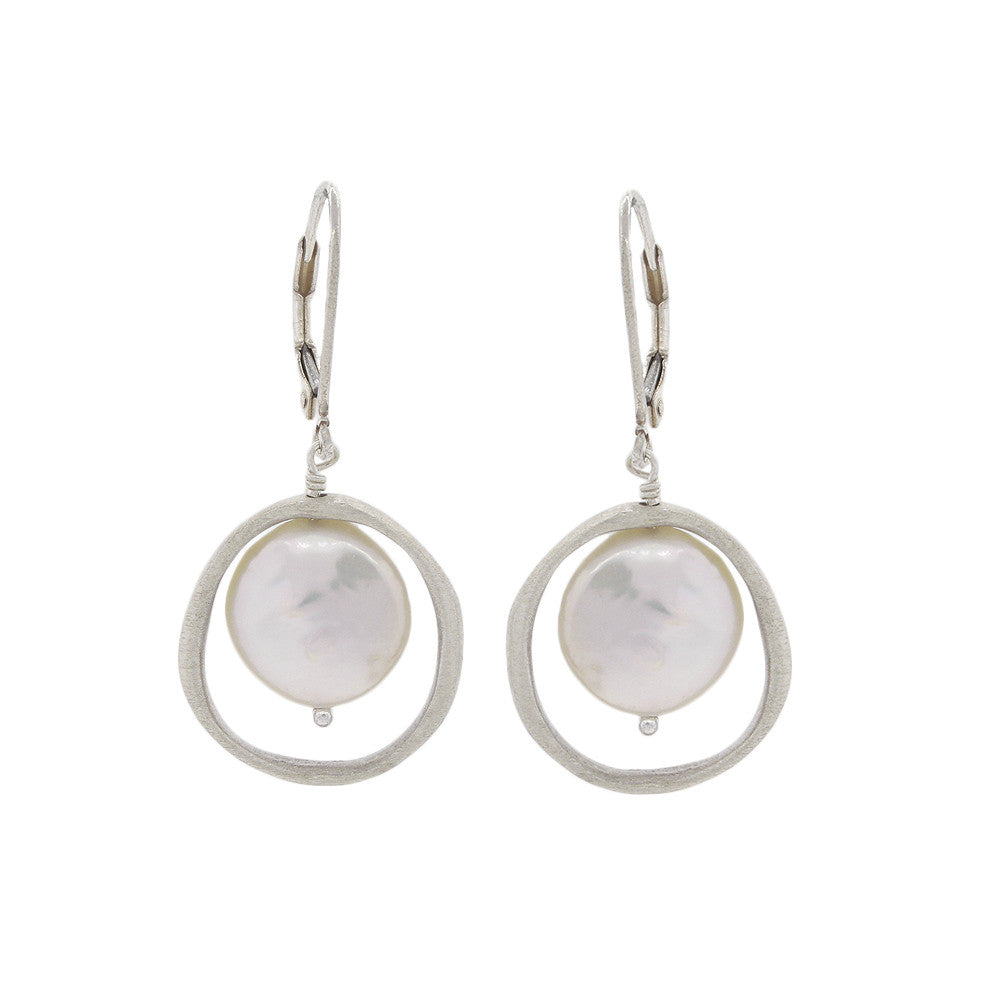 Pearl Encompassed by Brushed Sterling Silver Circle Earrings