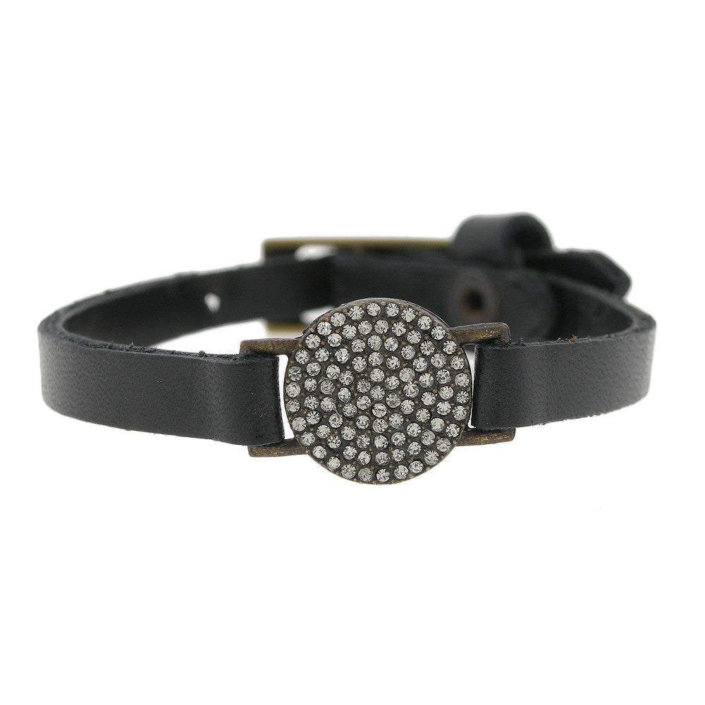 Petite Circle with Swarovski Crystal on Black Leather Bracelet Adjustable Buckle