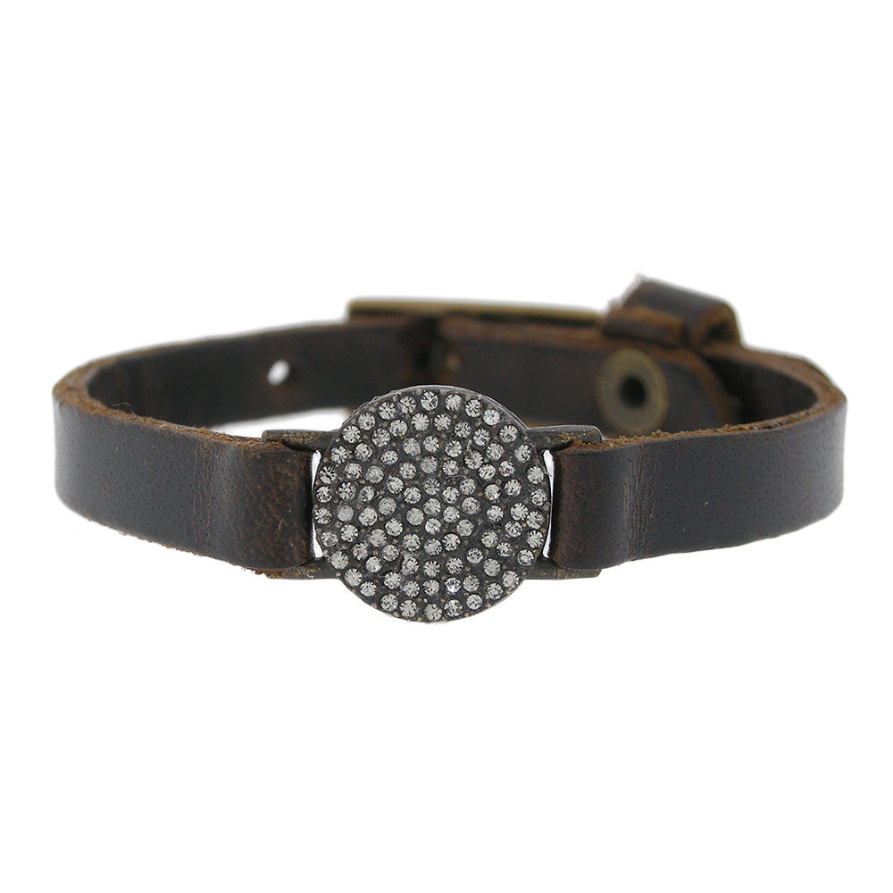 Petite Circle with Swarovski Crystal on Brown Leather Bracelet Adjustable Buckle
