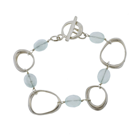 Brushed Sterling Silver and Chalcedony Bracelet