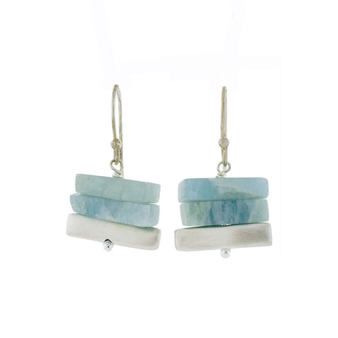 Stacked Aquamarine and Silver Earrings