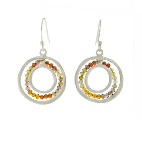 Open Circle Earrings with Sapphires