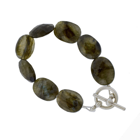 Labradorite Bracelet with Brushed Sterling Silver
