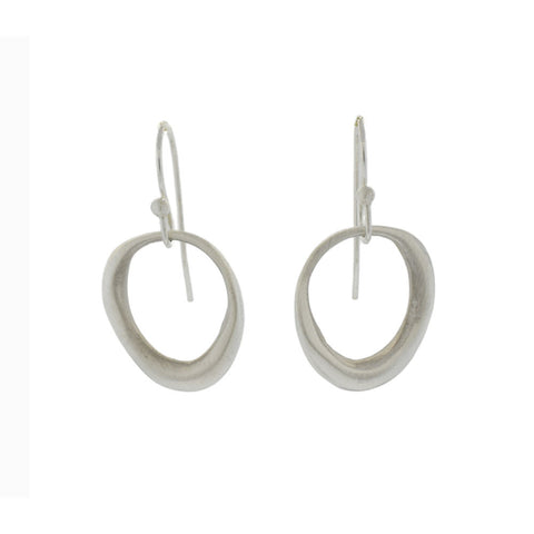 Organic Circle Earrings in Brushed Silver