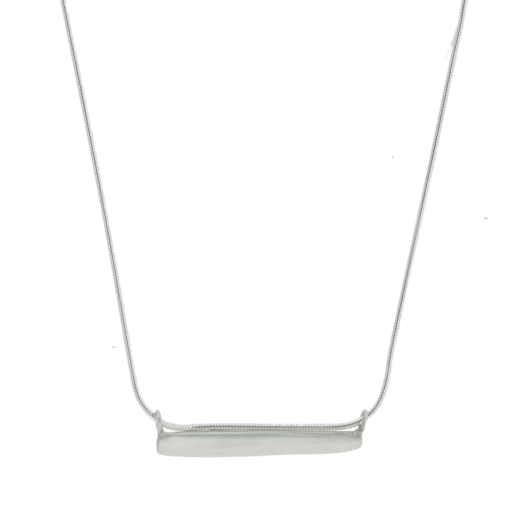 Brushed Sterling Silver Bar Necklace