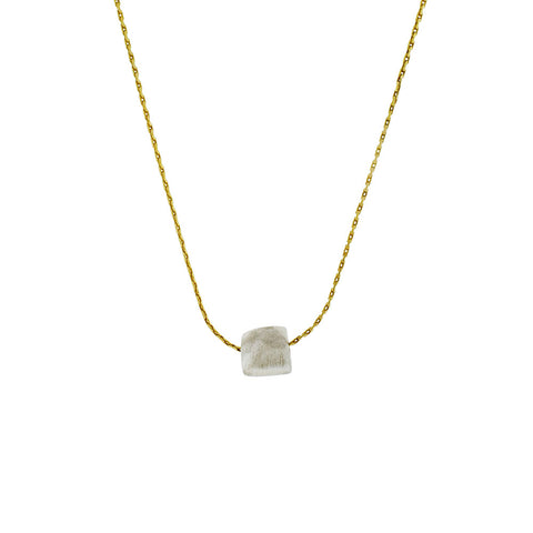 Faceted Silver Square on Gold Vermeil