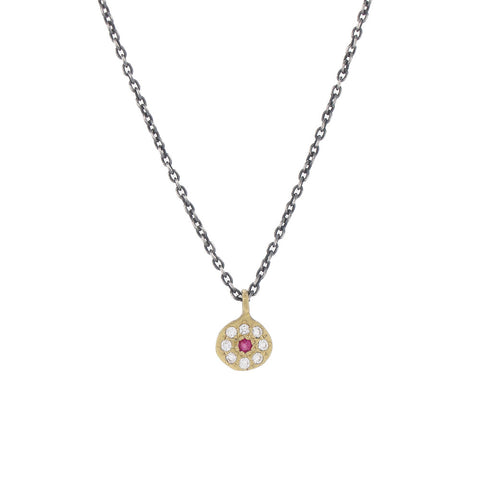 Diamond and Pink Sapphire Floret Necklace