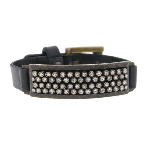 Rectangular Swarovski Crystal Black Leather Bracelet Adjustable Buckle