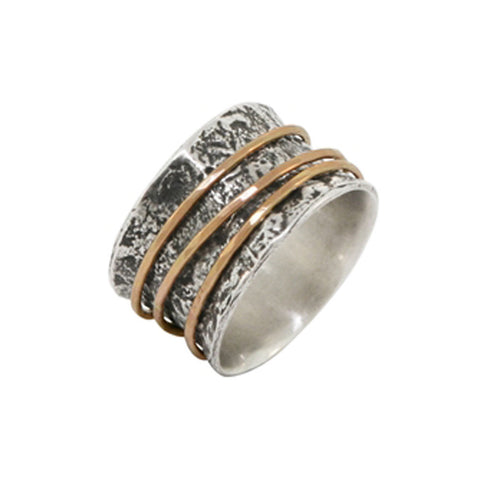 Reticulated Sterling Silver Band with Three Rose Gold Spinners
