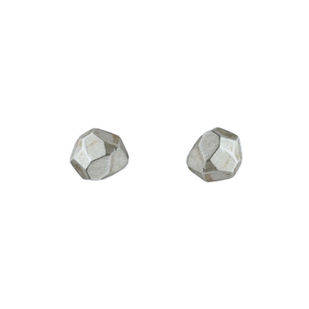 Faceted Nugget Stud Earrings in Sterling Silver