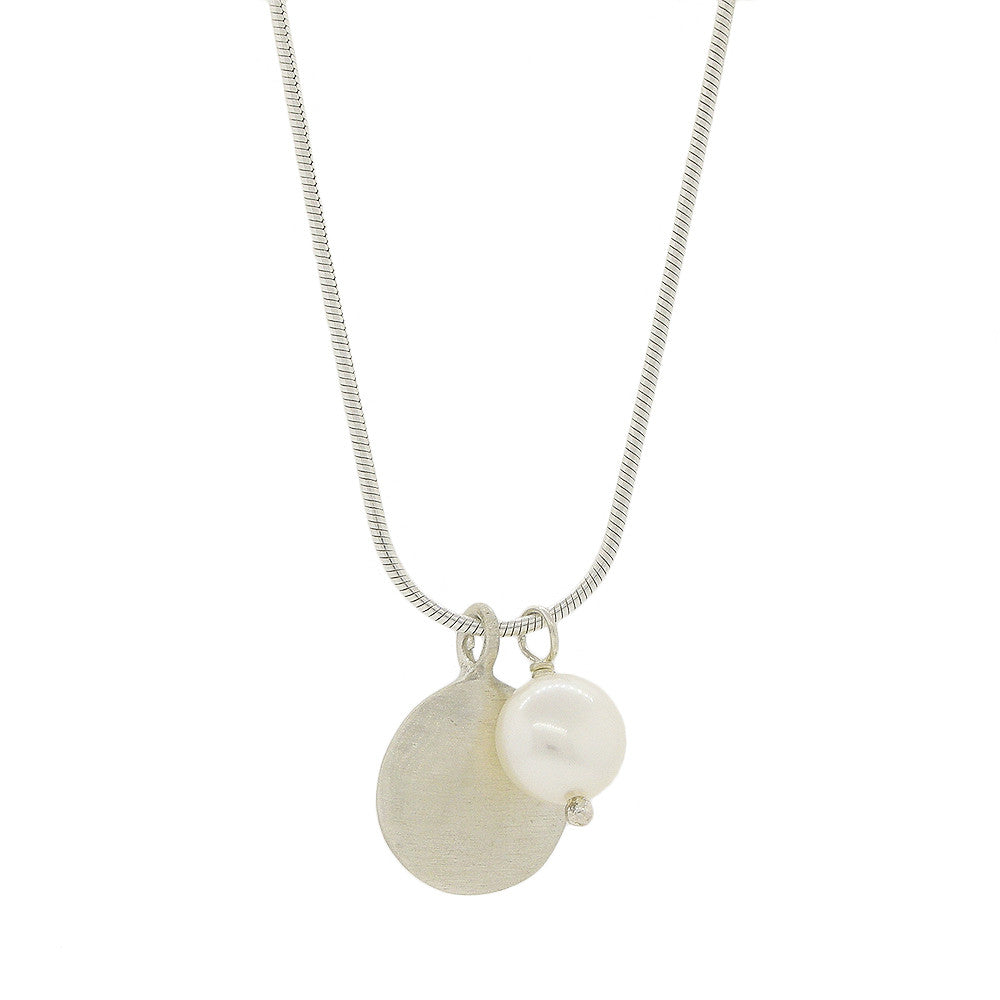 Brushed Sterling Silver Disk with Pearl Necklace