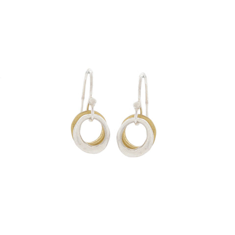 Sweet Double Circle with Gold Vermeil and Sterling Silver Earrings
